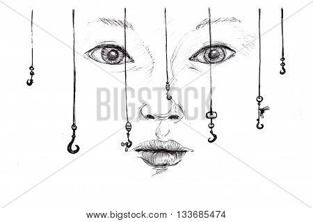 lure concept pencil sketch illustration over white