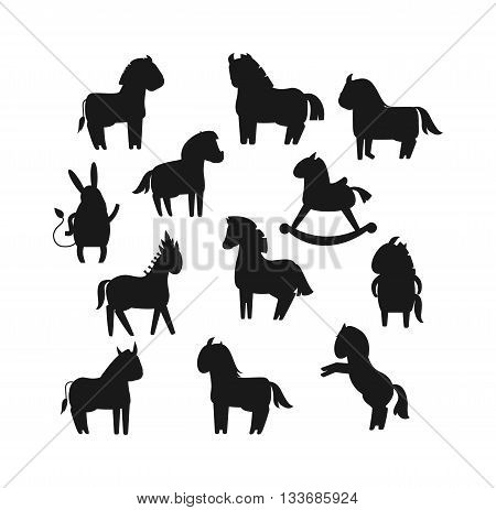 Cartoon horses black silhouette on white background and cartoon horse vector set. Cute cartoon horse black silhouette farm animals and cartoon horse happy mane. Black silhouette cartoon horses.