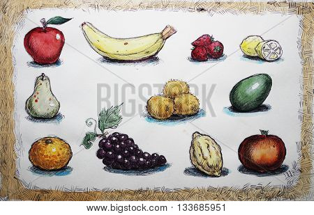 watercolor illustration of a fruit collection set