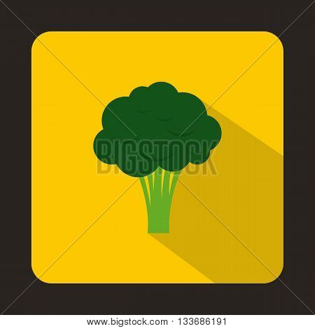 Broccoli icon in flat style on a yellow background