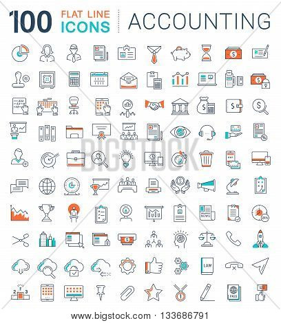Set vector line icons in flat design accounting finance and business with elements for mobile concepts and web apps. Collection modern infographic logo and pictogram.