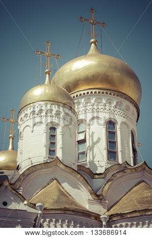 View of Famous The Annunciation Cathedral in Moscow Kremlin Russia
