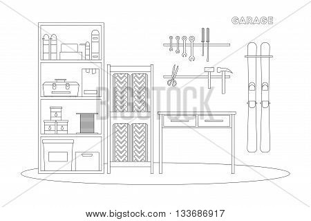Flat line garage interior. Working place with tools in storeroom. Garage inside. Tools worker tools tires hummer boxes shelves skis table in garage. Vector interior garage illustration.