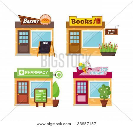 Store shop front window buildings icon set flat isolated vector illustration. Shop front retail building door and street facade market shop front. Shop front urban restaurant architecture exterior.