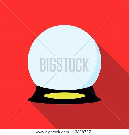 Magic ball icon in flat style on a red background