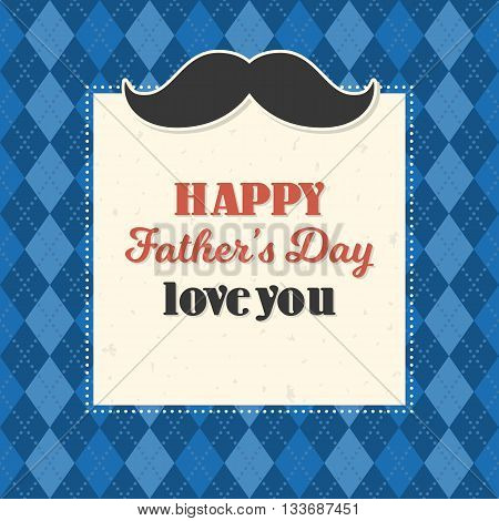 Happy father's day illustration vector template, design for card on argyle background with calligraphic font, typographical Father's day in vintage style on argyle background