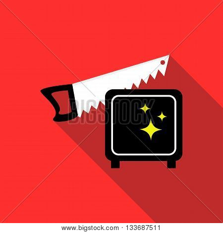 Magician sawing box icon in flat style on a red background