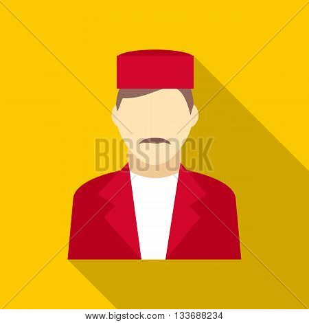 Doorman icon in flat style on a yellow background