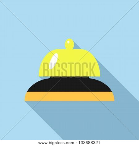 Golden reception bell icon in flat style on a blue background