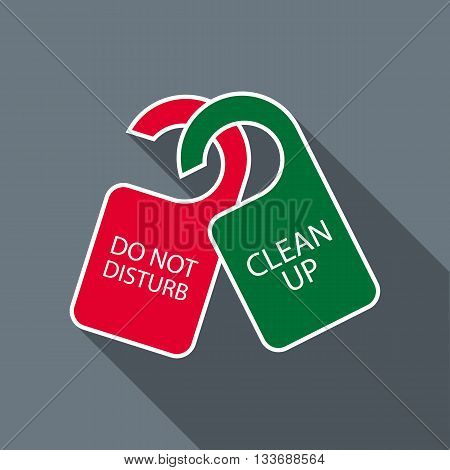 Do not disturb and clean up door hangers icon in flat style on a grey background
