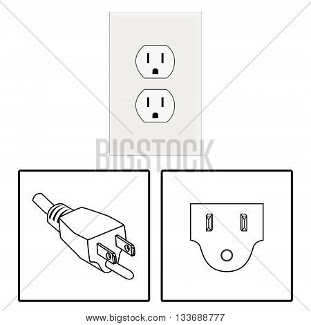 Vector. US socket and plug. Icon. Three pin socket isolated illustration.
