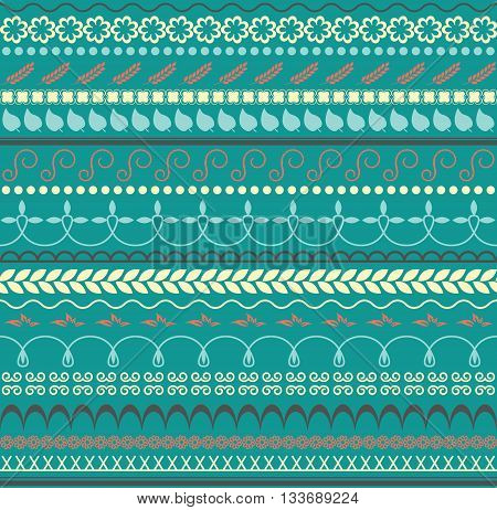 Vector. Floral seamless pattern. Horizontal background for textile paper or other decoration. Trendy color palette.