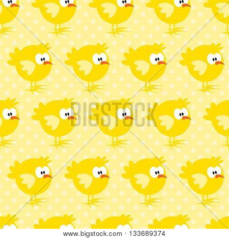 Seamless pattern with chicken on yellow dotted background. For cards, invitations, baby shower albums, textile, backgrounds and scrapbooks. Can be used for wallpapers. Vector illustration.
