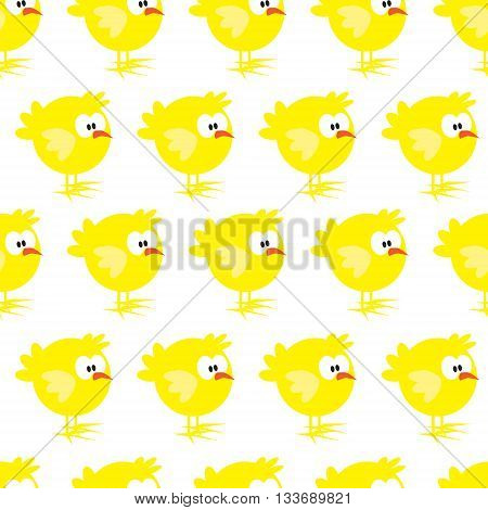 Seamless pattern with chicken on white background. For cards, invitations, baby shower albums, textile, backgrounds and scrapbooks. Can be used for wallpapers. Vector illustration.