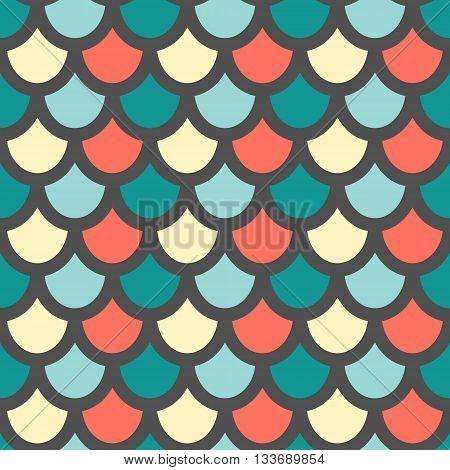 Vector. Fish skin style seamless pattern. Dark background