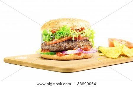 Hamburger - Homemade Burger With Fresh Vegetables