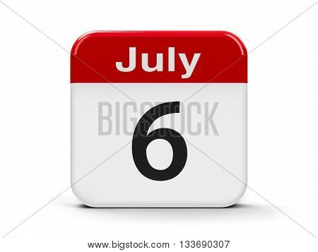 Calendar web button - The Sixth of July - World Kiss Day three-dimensional rendering 3D illustration