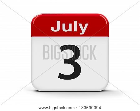 Calendar web button - The Third of July - Republic of Belarus Independence Day three-dimensional rendering 3D illustration