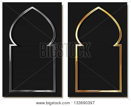 Eastern style metallic arc in gold and silver. Element of Islamic or Arabic interior decoration design. Window or door arc element. Eastern traditional element Isolated illustration. Vector.