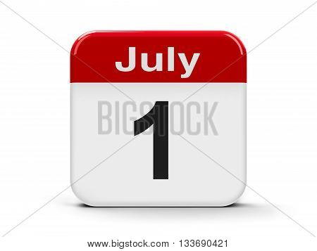 Calendar web button - The First of July - Canada Day three-dimensional rendering 3D illustration