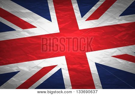 Union Jack On Crumpled Paper Background. Vintage Effect