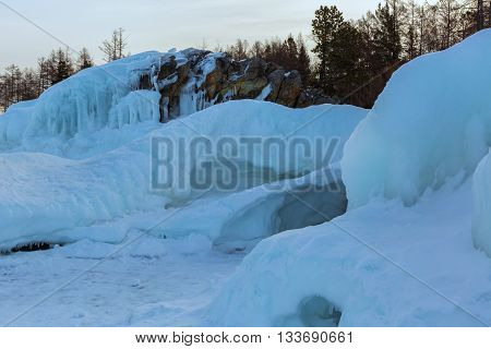 Icy waves on the beach of Lake Baikal near Turtle Rock.