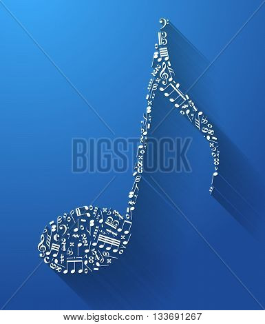 Music note sign made up from music signs with long shadow on blue background