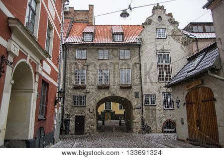 Riga, Latvia - January 1, 2016: The city gate
