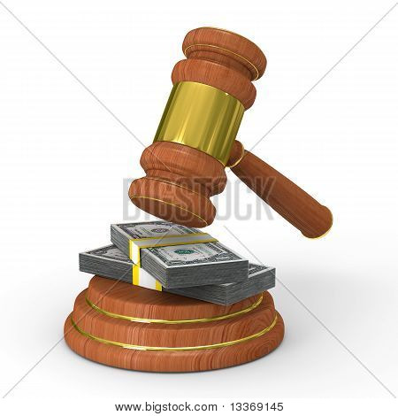 Auction Gavel On White