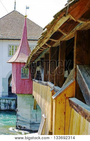 LUCERNE SWITZERLAND - MAY 08 2016: Spreuer Bridge (Spreuerbrucke) was built in 1408 restored after flood in 1566 formerly also Muhlenbrucke. It is one of two extant wooden footbridges in the city