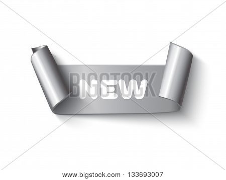 Silver curved paper ribbon banner with paper rolls and inscription New isolated on white background. Realistic vector silver paper ribbon