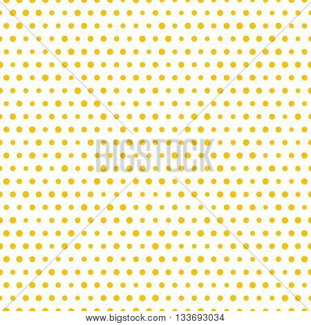 Simple seamless gold polka dot on white background, vector seamless polkadot pattern