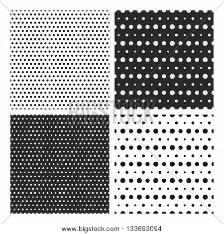 Set of simple dotted patterns. Seamless vector polka dots pattern collection. Black and white seamless pattern with randome sizes dots