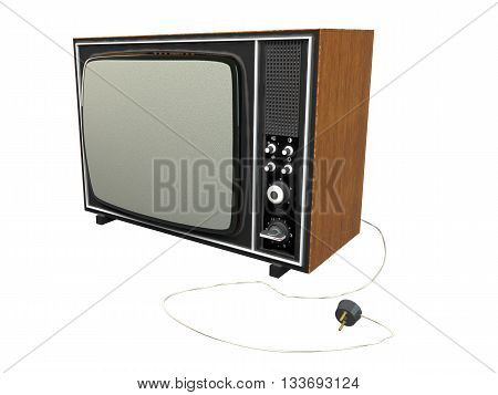 3D rendering old tv isolated on white background