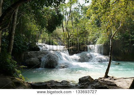 The beautiful Kuang Si Waterfalls near Luang Prabang, Laos