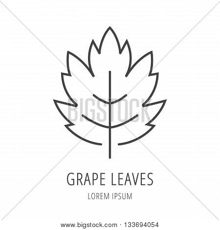 logo or label grapes. Line style logotype template with grape. Easy to use business template. Vector abstract logo or emblem.
