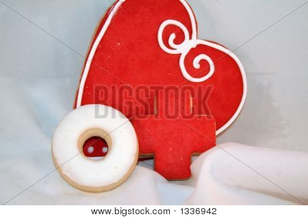 Heart Cookies With O X