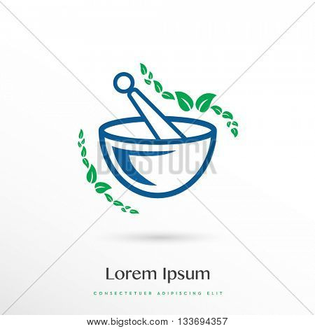 PREMIUM DESIGN OF A MORTAR AND A PESTLE WITH LEAFS,  VECTOR LOGO / ICON