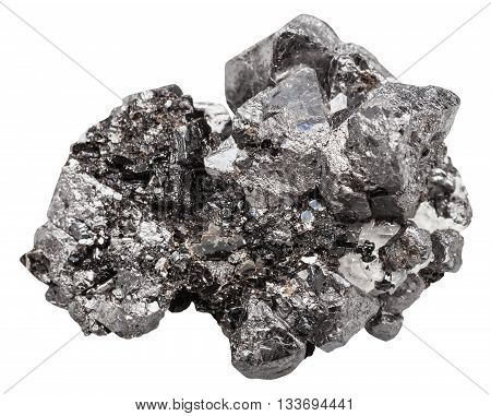 Druse Of Black Crystals Of Magnetite Mineral Stone