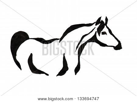 drawing with black ink on white background - stylized image of a horse
