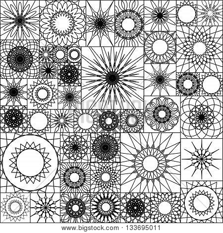 Tile Seamless Pattern With Spirograph. Mandalas In Square Shape. Wallpaper Design, Vector Illustrati