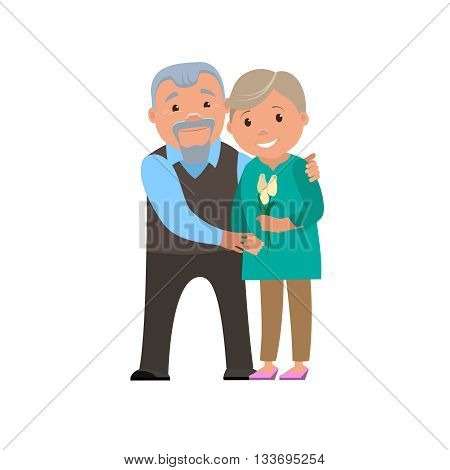 Happy couple grandparents smile. Vector cartoon illustration.