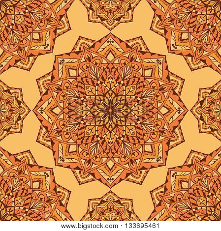 Oriental orange ornament. Seamless vector design of mandalas. Template for textiles shawl linen carpets wallpaper cushions.