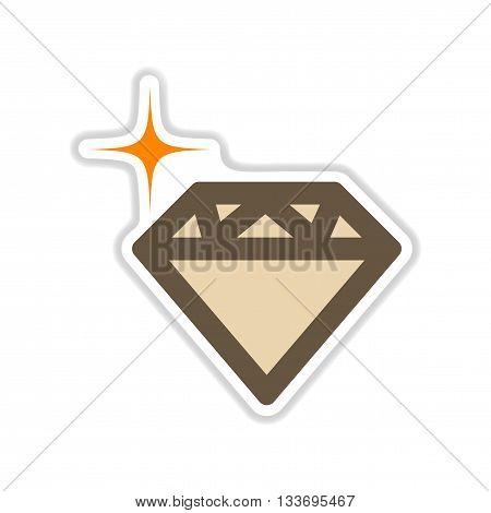 paper sticker on white  background diamond crystal
