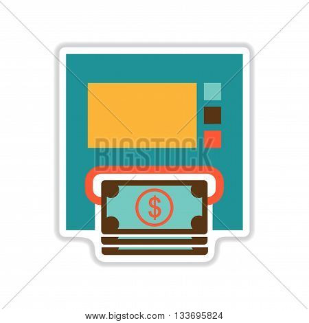 paper sticker on white  background ATM money