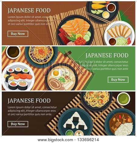 Japanese food web banner.Japanese street food coupon.