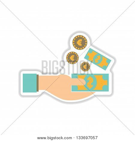 paper sticker on white  background money in hand