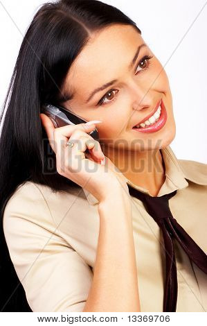 attractive business woman calling by  phone
