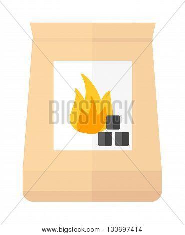 Charcoal coal pack isolated on white. Charcoal coal pack vector icon, Charcoal coal pack fire energy coal black wood. Burn natural hot fuel Charcoal coal pack