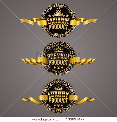 Set of luxury gold badges with ornate borders, stars, crowns, ribbons. Exclusive, premium, luxury product. Promotion emblems, icons, labels, medal for web page design Illustration EPS10
